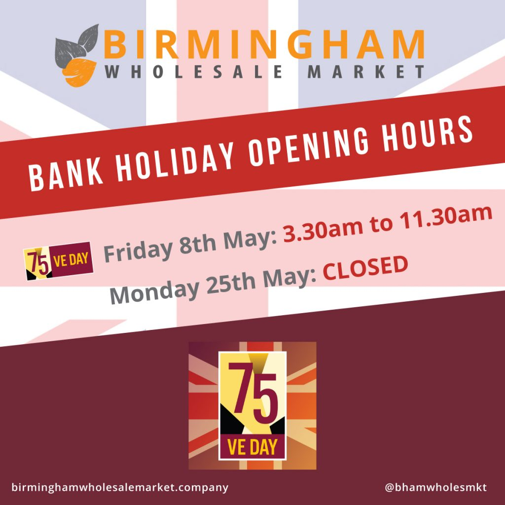 VE Day Bank Holiday Opening