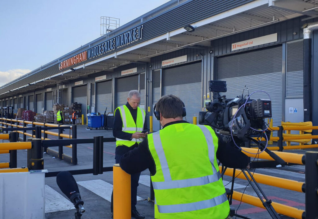Sky News filming at the Birmingham Wholesale Market